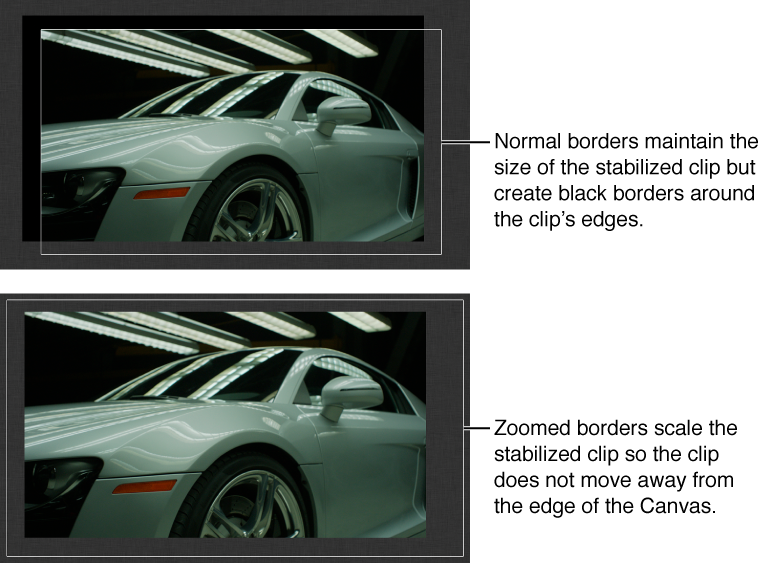Canvas showing Stabilize behavior applied to object and Borders set to Normal; and Stabilize behavior applied to object and Borders set to Zoom