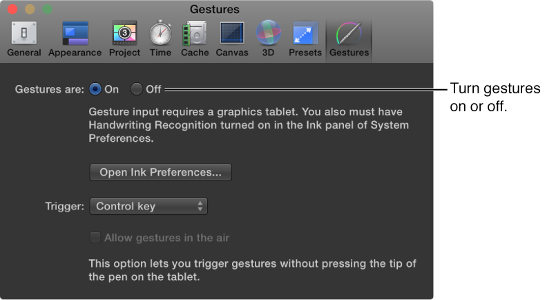 Motion preferences window showing Gestures pane