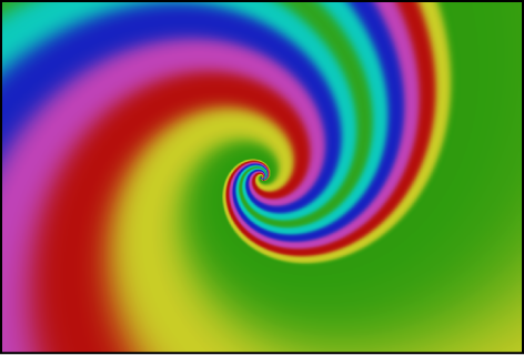 Canvas showing spiral generator, with Color Type set to Gradient