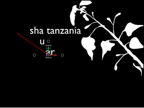 Canvas showing Sequence Text behavior with position keyframes