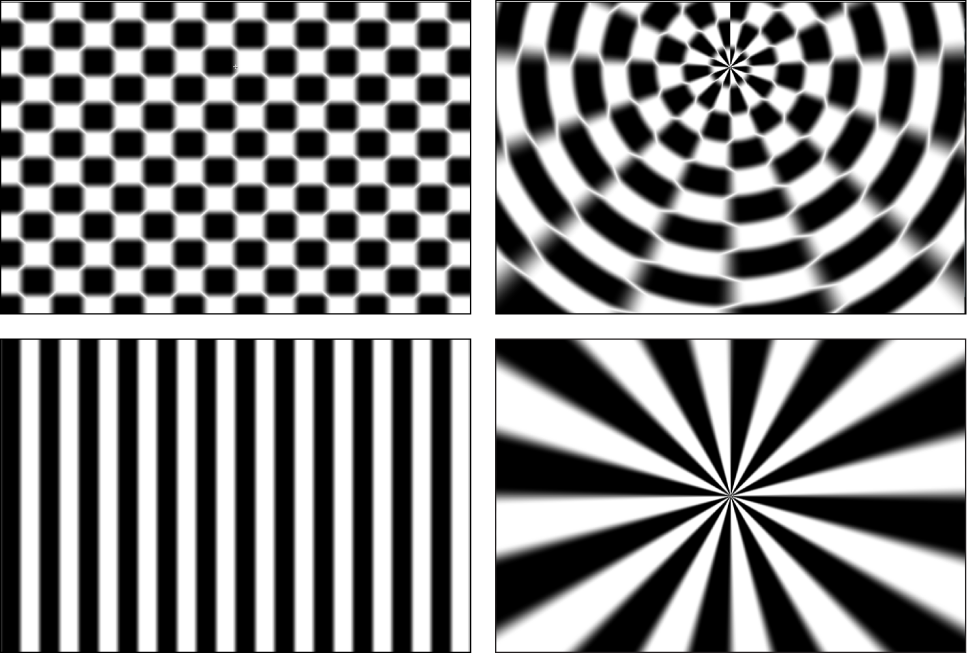 Canvas showing effect of Polar filter on Checkerboard and Stripes generators
