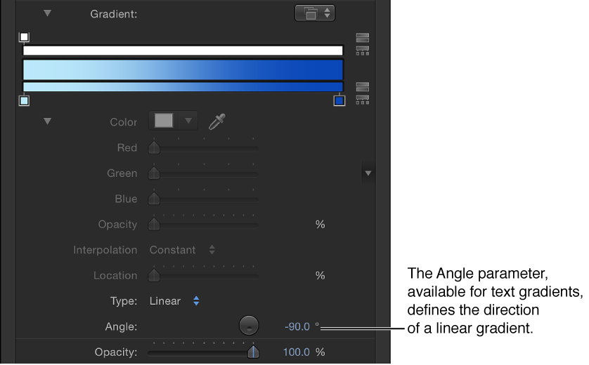 Inspector showing expanded gradient editor controls