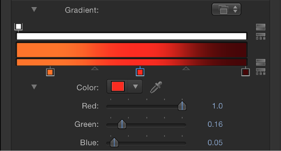 Gradient editor showing color controls when a tag is selected