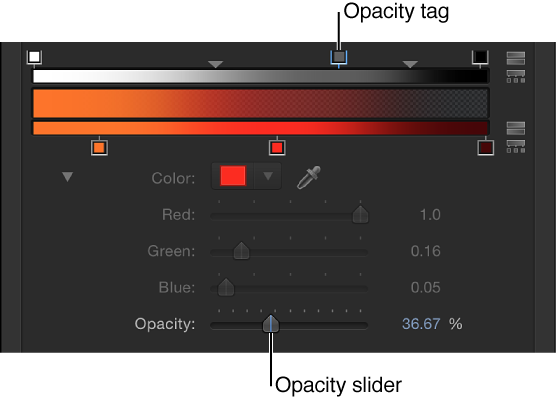 Gradient editor showing opacity tag and Opacity controls