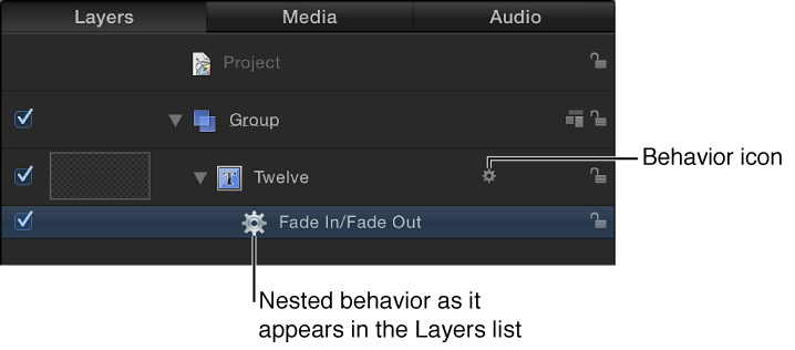 Layers list showing behaviors applied to an object