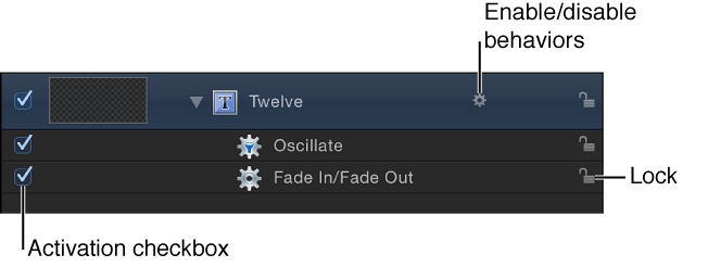 Layers list showing applied behaviors, their activation checkboxes and lock icons, and a behavior icon to enable or disable behaviors