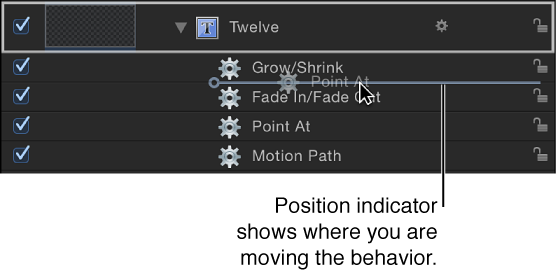 Layers list showing behaviors being reordered