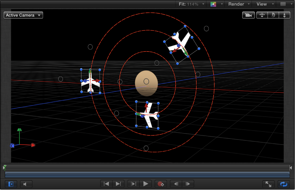 Canvas showing Orbit Around behavior when both X and Y axes are enabled