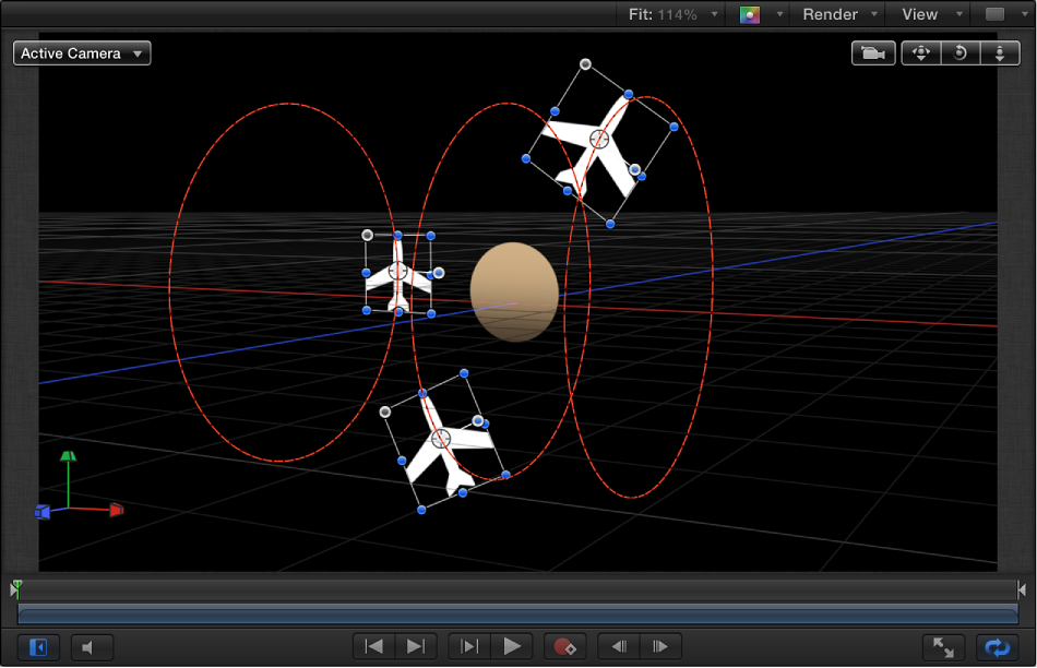 Canvas showing Orbit Around behavior when both Y and Z axes are enabled