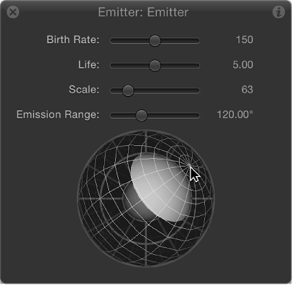 HUD showing 3D emission control sphere rotated and offset