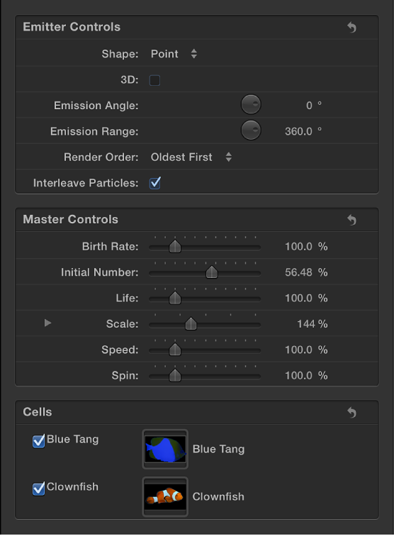 Emitter Inspector showing Master Controls section