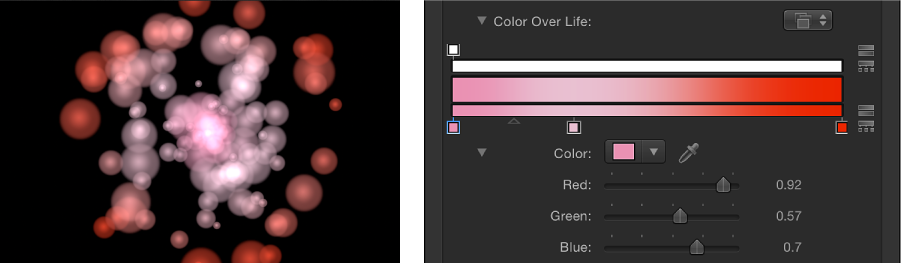 Canvas and Inspector showing particle system set to Over Life color mode and the gradient used to determine colors