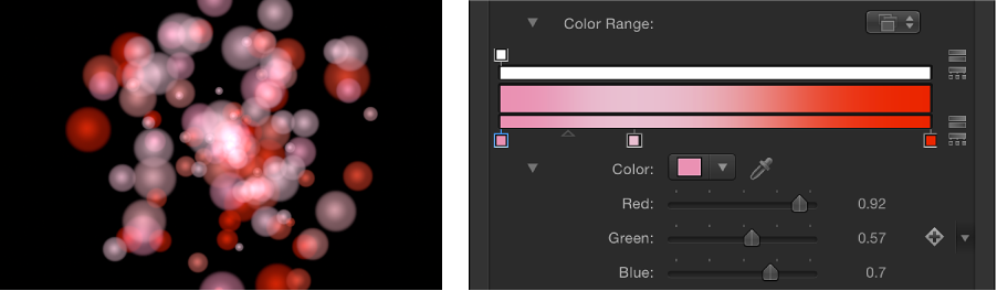 Canvas and Inspector showing particle system set to Pick From Color Range and the gradient used to determine colors