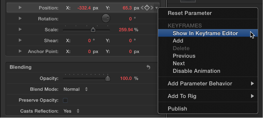 Inspector showing Show In Keyframe Editor command in Animation menu