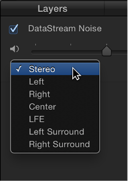 Audio list showing output channel pop-up menu