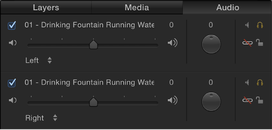 Audio list showing stereo channels