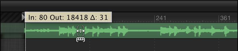 Slipping audio track in Audio Timeline