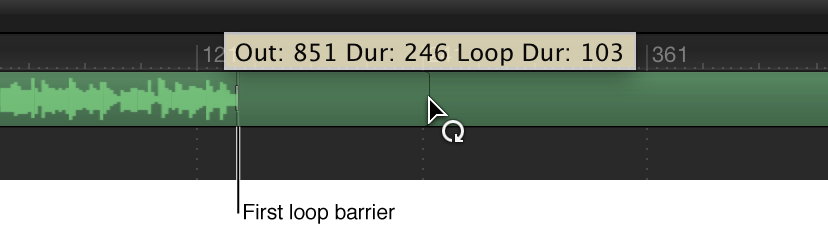Timeline showing audio track being looped