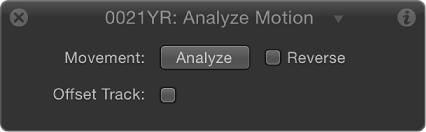 HUD showing Analyze Motion behavior parameters