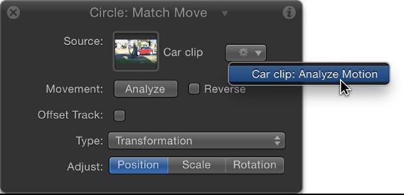 HUD showing Match Move behavior parameter with tracking behaviors pop-up menu active