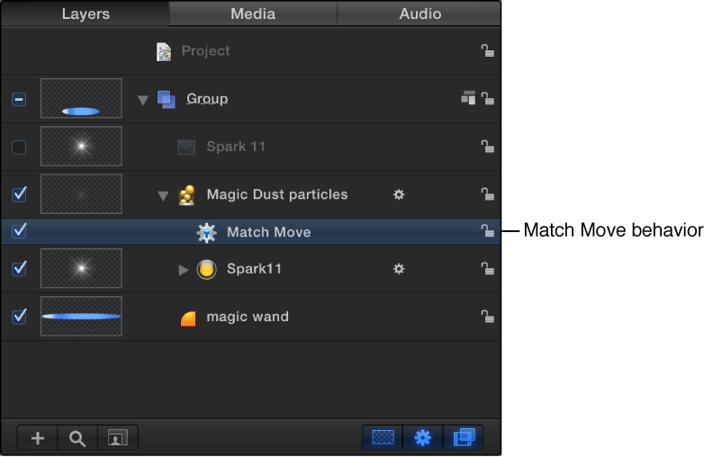 Layers list showing Match Move behavior applied to particle emitter