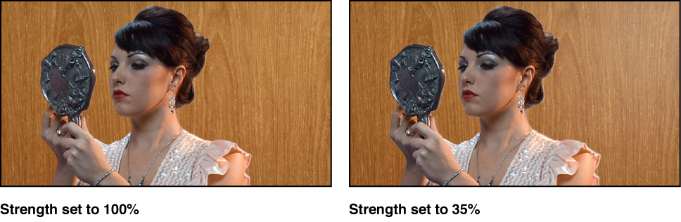 Comparison of two keyed images in Canvas. In first example, Strength is set to 100 percent. In second example, Strength is set to 35 percent
