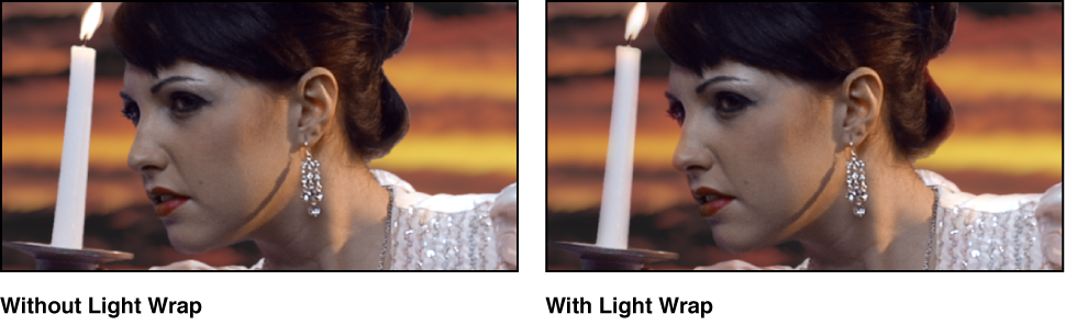 Keyed image with and without Light Wrap