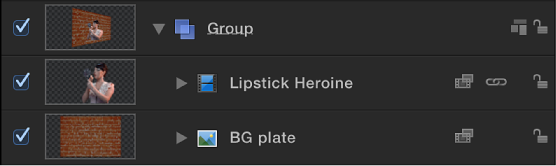 Foreground green screen clip and background plate seen in Layer list