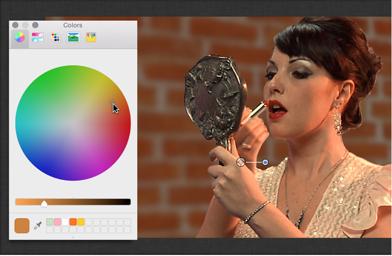 Using color wheel in Colors window to adjust color of foreground image