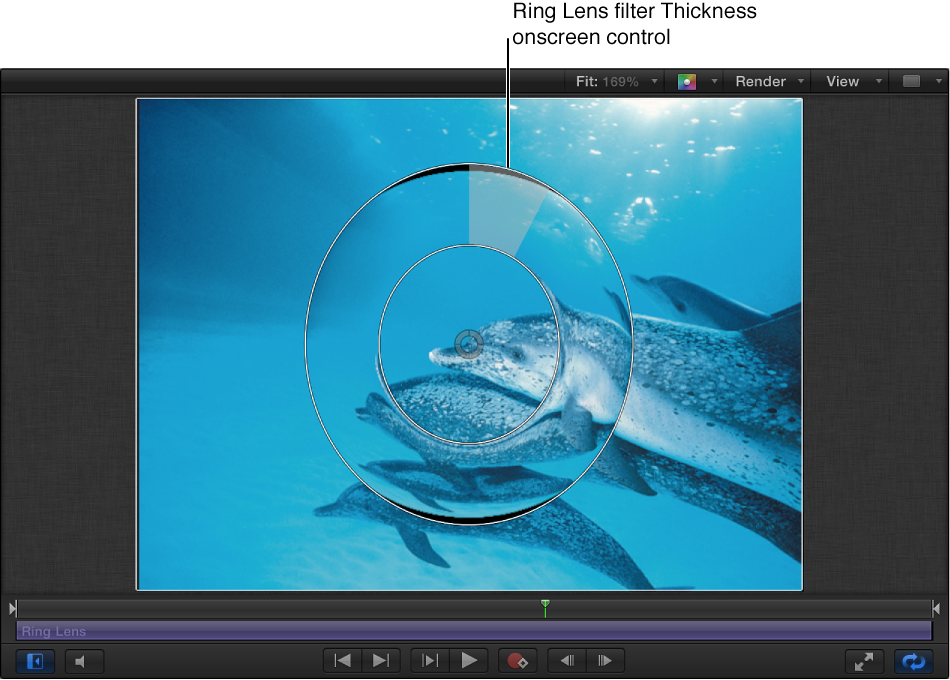 Ring Lens filter Thickness onscreen control