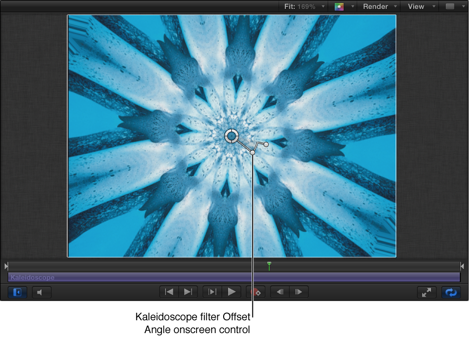 Kaleidoscope filter Offset Angle onscreen control