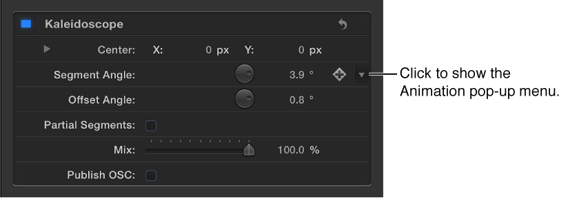 Small downward-facing arrow that represents Animation menu