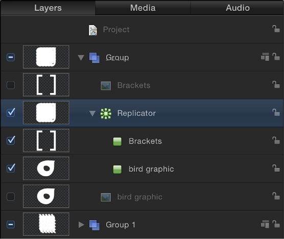 Layers list showing replicator, the two cells within it, and the two disabled layers
