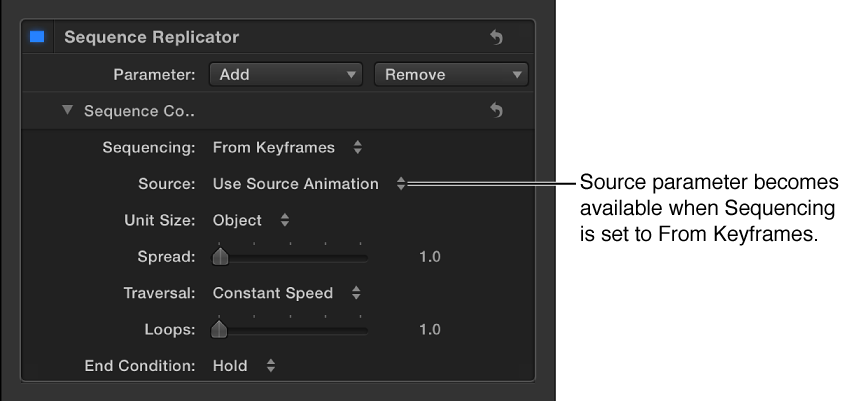 Behaviors Inspector showing Source parameter that appears when Sequencing pop-up menu is set to Custom