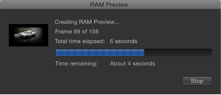 RAM Preview progress dialog