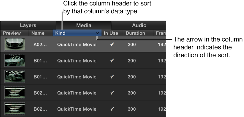 Column header in the Media tab