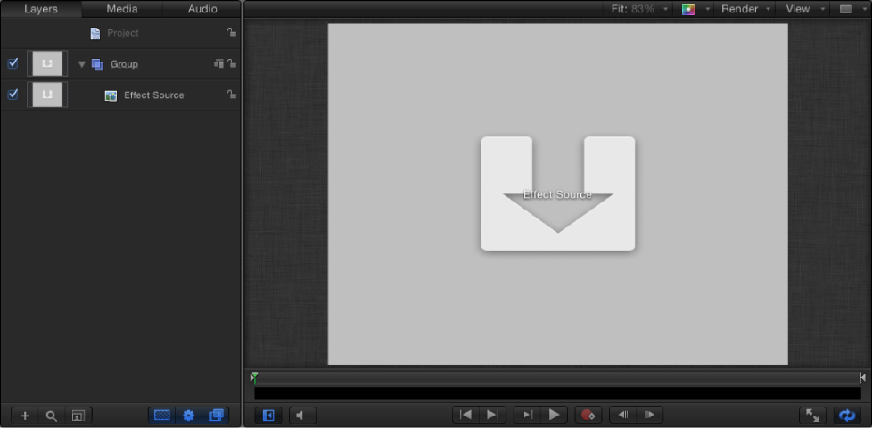 New Final Cut Effect project showing Layers list and Canvas