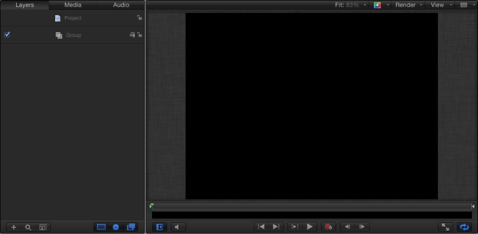 New Final Cut Generator project showing Layers list and Canvas