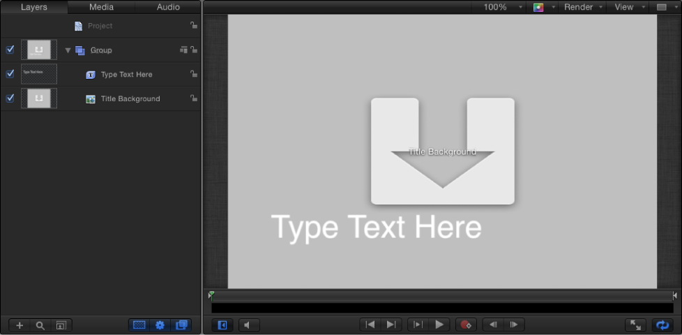 New Final Cut Title project showing Layers list and Canvas