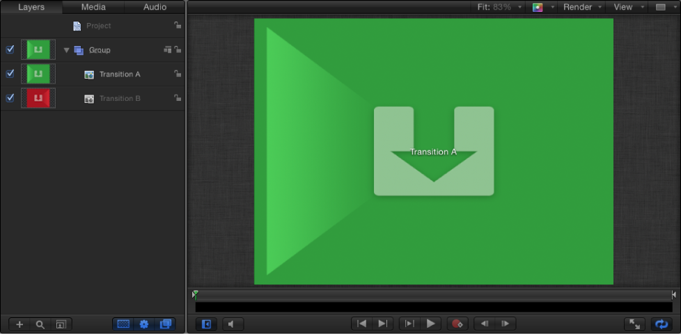 New Final Cut Transition project showing Layers list and Canvas