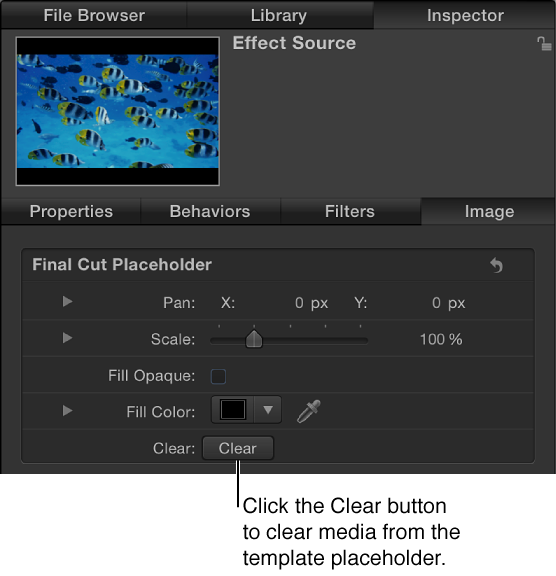 Clear button in the template placeholder Inspector
