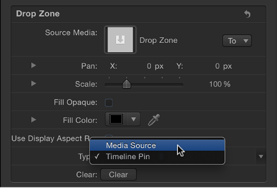 Choosing Media Source from the Type pop-up menu in the Image Inspector