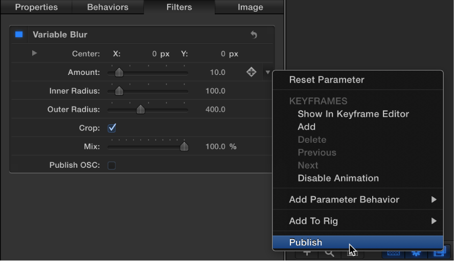 Choosing Publish from the Shear parameter Animation menu