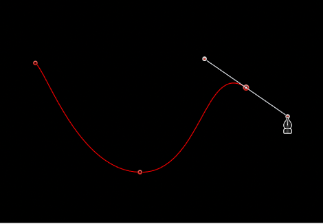 Canvas showing curved Bezier point