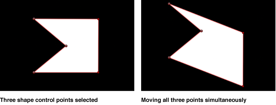 Canvas showing mulitple control points selected and moved together
