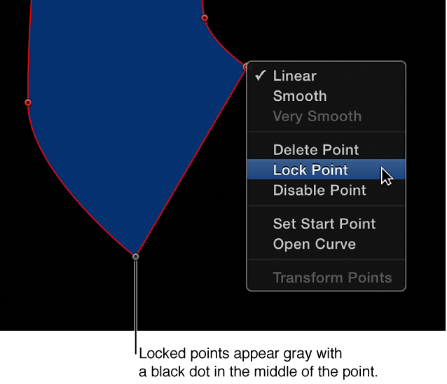 Canvas showing locked control point