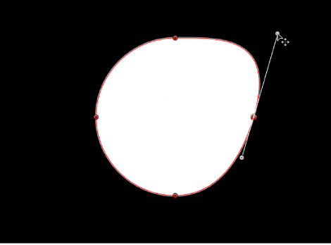 Canvas showing tangent handle being lengthened independently of its opposing tangent handle