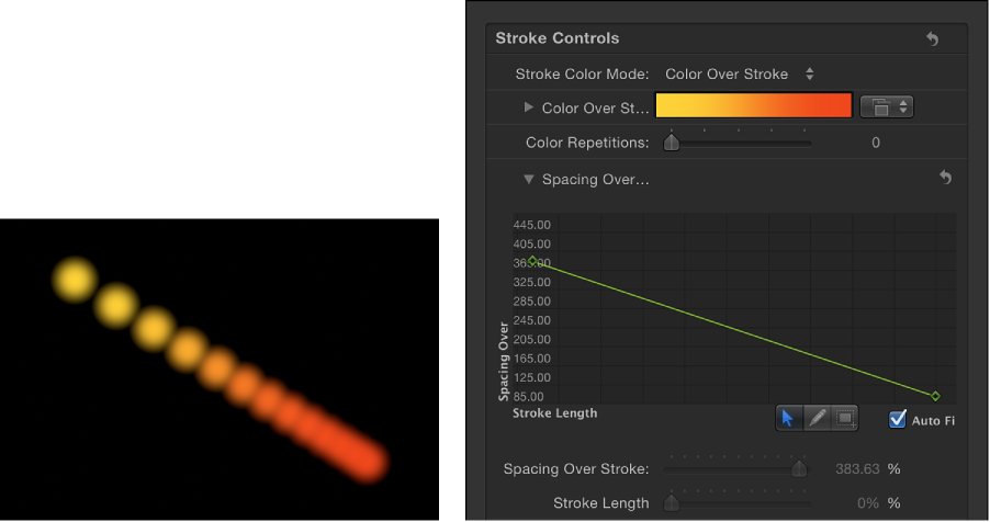 Canvas and Stroke pane showing Spacing Over Stroke mini-curve editor displaying decreasing value