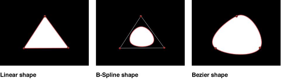 Canvas showing linear shape, B-Spline shape, and Bezier shape
