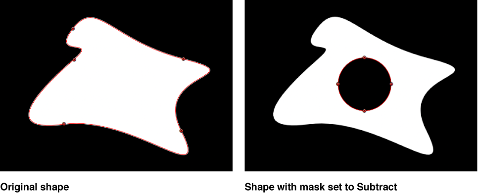 Canvas window showing  shape with mask subtracted from it